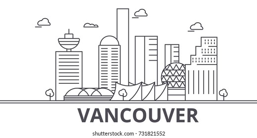 Vancouver architecture line skyline illustration. Linear vector cityscape with famous landmarks, city sights, design icons. Landscape wtih editable strokes