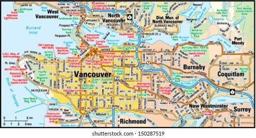 Vancouver Map Images Stock Photos Vectors Shutterstock