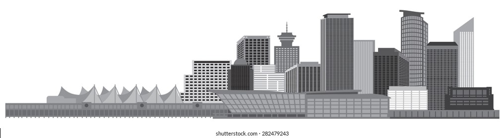 Vancouver British Columbia Canada City Skyline Grayscale Vector Illustration
