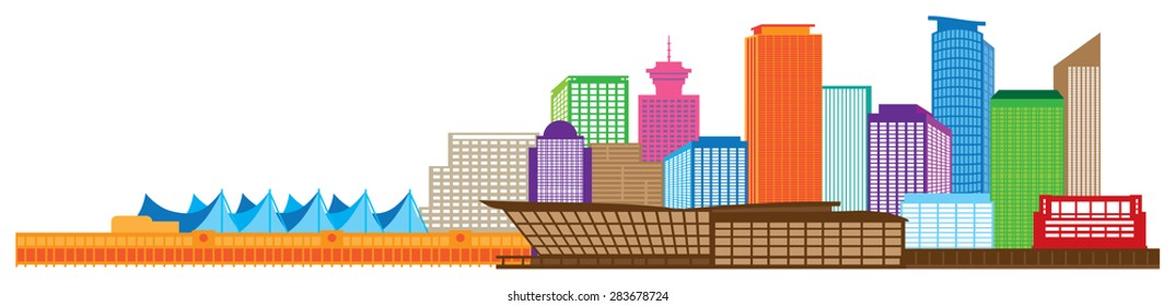Vancouver British Columbia Canada City Skyline Color Vector Illustration
