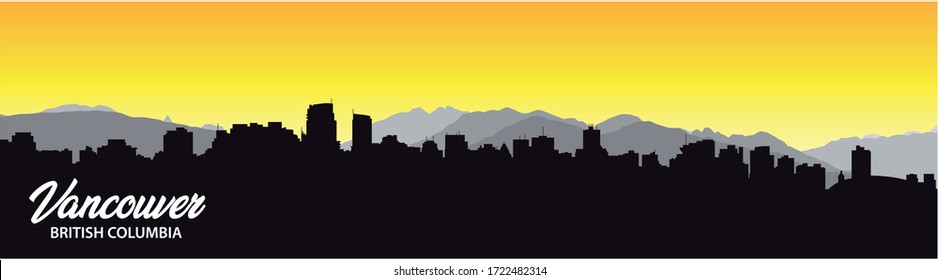 vancouver british columbia skyline silhouette background with city panorama
