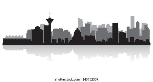 Vancouver Canada city skyline silhouette vector illustration