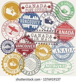 Vancouver Canada Set of Stamps. Travel Stamp. Made In Product. Design Seals Old Style Insignia.