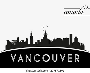 Vancouver Canada skyline silhouette, black and white design, vector illustration