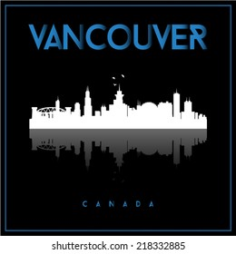 Vancouver, Canada, skyline silhouette vector design on black background.