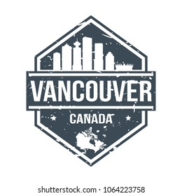 Vancouver Canada Travel Stamp Icon Skyline City Design