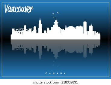 Vancouver, Canada, USA skyline silhouette vector design on parliament blue background.