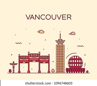Vancouver city skyline, Canada. Trendy vector illustration, linear style
