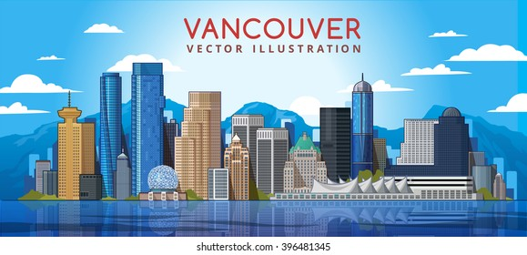 Vancouver City Skyline. Canada. Vector illustration