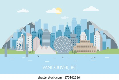 Vancouver city skyline vector. Skyline of Vancouver city. Canada, British Columbia modern vector illustration.