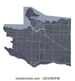 Vancouver map. Detailed vector map of Vancouver city administrative area. Cityscape poster metropolitan aria view. Dark land with white streets, roads and avenues. White background.