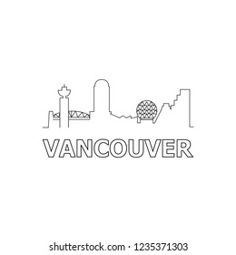 Vancouver skyline and landmarks silhouette black vector icon. Vancouver panorama. Canada