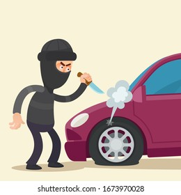 Vandal with a knife slashed tire of car parked in parking lot. Malicious damage. Criminal in black suit and  balaclava on head. Vector illustration, flat design, cartoon style, isolated background.