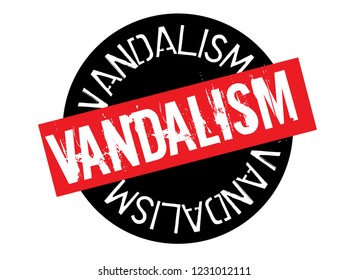 vandalism stamp on white background. Sign, label, sticker.