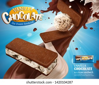 Vanilla chocolate ice cream ads with swirling sauce on blue background in 3d illustration