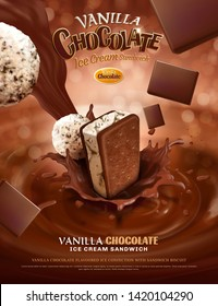 Vanilla chocolate ice cream ads with pouring sauce on bokeh glittering background in 3d illustration