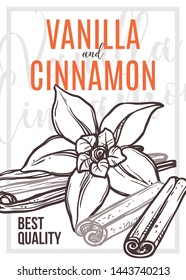 Vanilla and cinnamon vector hand drawn poster template. Orchid flower and vanilla pods outline illustration. Aromatic cinnamon sticks sketch. Spices, condiments store banner layout