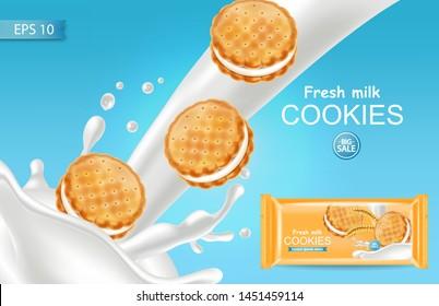 Vanilla cream cookies Vector realistic. Product placement mock up. Sweet dessert cream splash design. 3d illustration