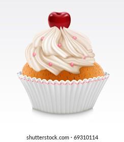 Vanilla cupcake with cherry