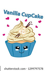 Vanilla cupcake with cute face in kawaii style. Vector graphic EPS 10