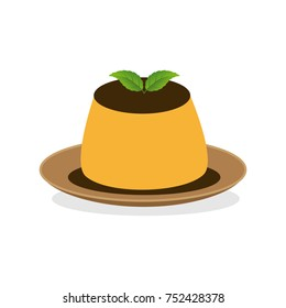 Vanilla flan with mint leaves in vector