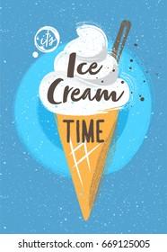 Vanilla ice cream in a cone with additives