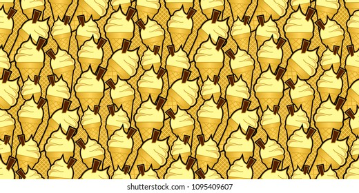 vanilla ice cream cones with chocolate flakes against a seamless waffle background