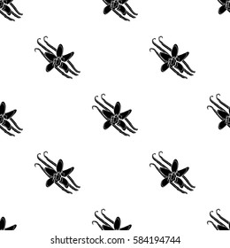 Vanilla icon in black style isolated on white background. Herb an spices pattern stock vector illustration.