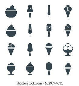 Vanilla icons. set of 16 editable filled vanilla icons such as ice cream, ice cream on stick