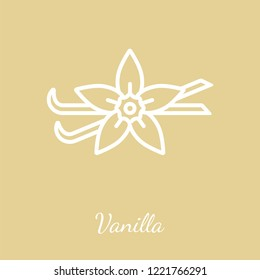 Vanilla pods and blossom icon. Flavoring spices vector symbol.