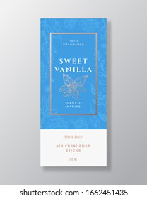 Vanilla Spice Home Fragrance Abstract Vector Label Template. Hand Drawn Sketch Flowers, Leaves Background and Retro Typography. Premium Room Perfume Packaging Design Layout. Realistic Mockup. Isolated