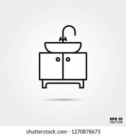 Vanity unit and bathroom washbasin line icon vector illustration. Home decoration and interior symbol.