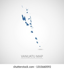 Vanuatu map. Blue Vanuatu map and Country name . Vector map on gray background. Map of Oceania . Eps10.