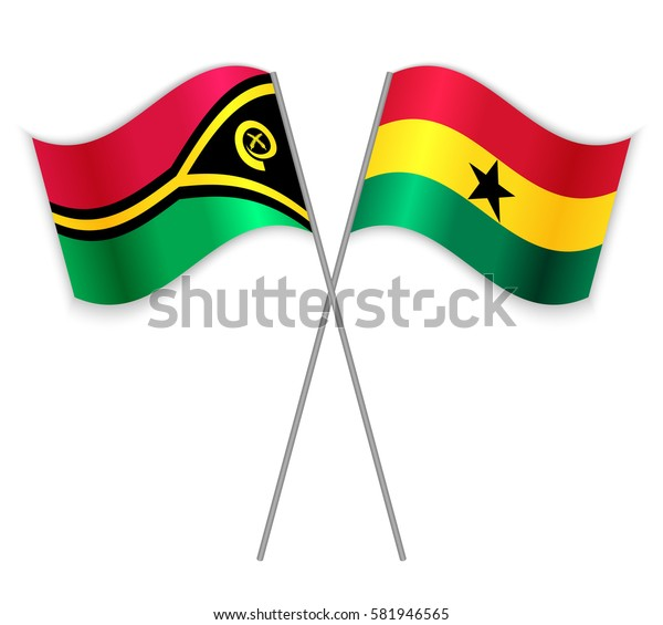 Vanuatuan and Ghanaian crossed flags. Vanuatu combined with Ghana isolated on white. Language learning, international business or travel concept.