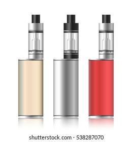 Vape Box. Electronic Cigarette Set. Colorful Vaporize Box Isolated On White Background. Vector Illustration.