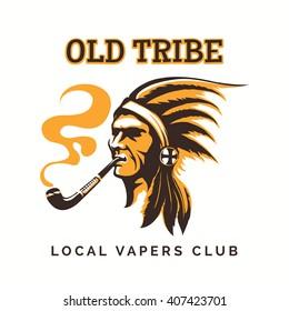 Vape club logo or vipe bar emblem with tribal american indian. Vector illustration