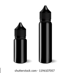 Vape E liquid dropper bottle set in black color. Realistic essential oil jar. Dropper Mock up container. Cosmetic vial, flask, flacon isolated on white background. Medical bank.