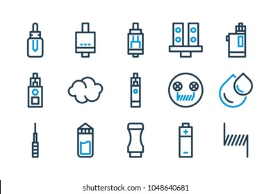 Vape and Ecig stuff and equipment related line icon set. Electronic cigarette vector illustration.