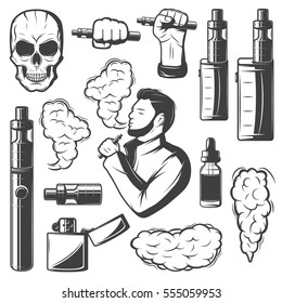Vape elements collection with electronic cigarettes smoke skull bottle vaporizers and smoking man isolated vector illustration