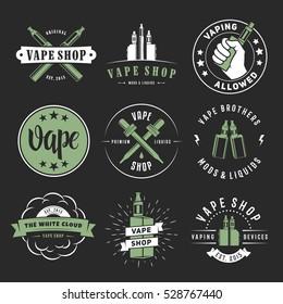 Vape labels. Vector e-cigarette logos for vape shop, bar or lounge. Smoking devices, liquids, mods and accessories.