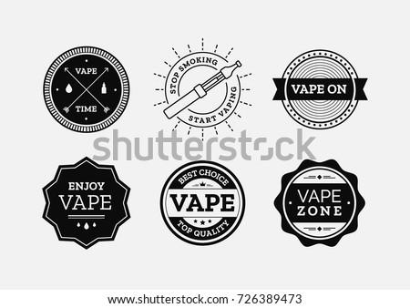 vape labels vector set vaper shop stock vector royalty free