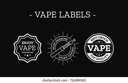 Vape Labels Vector Set for Vaping Shop Design. Vector illustration isolated on black background.