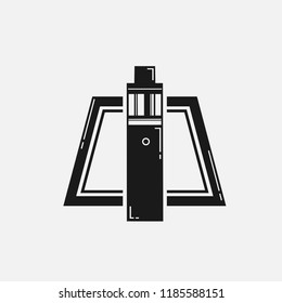vape logo . vaporizer flat design . vapor trapezium symbol