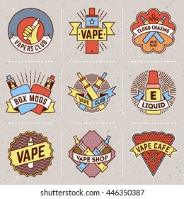 Vape Logotypes Color Set 1. Thin Line Art Vector Vintage Style Elements. Elegant Geometric Shiny Frames.
