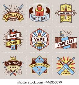 Vape Logotypes Color Set 2. Thin Line Art Vector Vintage Style Elements. Elegant Geometric Shiny Frames.