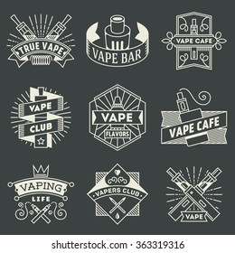 Vape Logotypes Set 2. Thin Line Art Vector Vintage Style Elements. Elegant Geometric Shiny Frames.