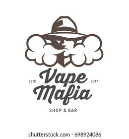 Vape mafia emblem. Vaping related label badge advertising sign. Vector vintage illustration.
