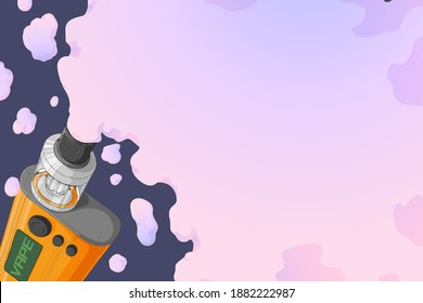 Vape mod with Rebuildable Dripping Tank Atomizer and cloud of vapor. Background with E-cigarette art and place for text. Vector illustration in cartoons style. Horizontal banner with trendy vaping art