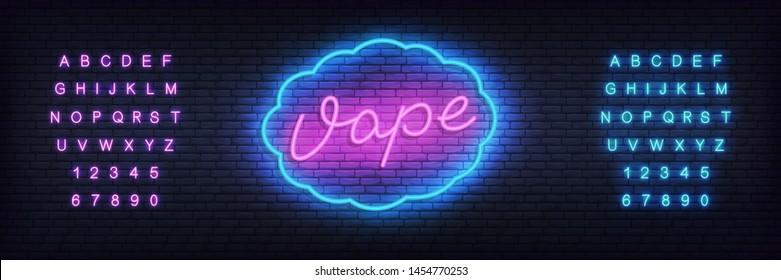 Vape neon template. Glowing lettering sign Vape shop.