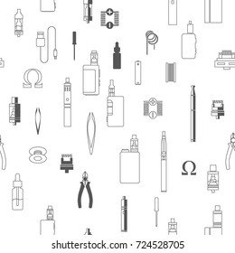 vape patterns of e cigarette icons set, e liquid, vape devices and tools, vaping seamless background.